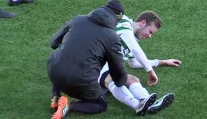 Joakim Häll fick en smäll på knät och tvingades bryta matchen mot Sandviken.