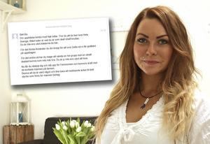 Lina Ilar, och skärmdump på ett av många hatmeddelanden som hon fått.
