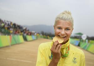 Jenny Rissveds tog OS-guld i mountainbike.