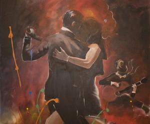 I dansens virvlar.  En av de oljemålningar som finns med på utställningen som pågår till och med den 13 april.