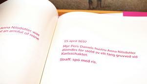 Anna Nilsdotter stal ett fång gruvved 1697. Straffet blev spö med ris. Frrån utställningen vid Falu gruva.