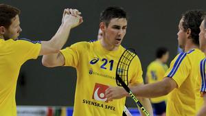 Tobias Gustafsson i landslagströjan.