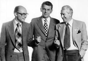 Fr v partiledarna Per Ahlmark (FP), Thorbjörn Fälldin (C) och Gösta Bohman (M).