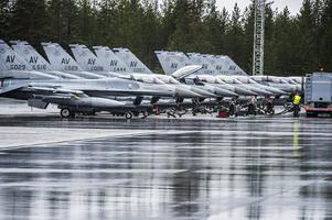 I samband med Arctic Challenge 2015,  en av världens största flygövningar som arrangerades gemensamt av Sverige, Norge och Finland med Norge som övningsledare, tog sig Agneta Norberg in på militärt område för en protest. På bilden Amerikanska F-16 Fighting Falcons på rad som deltog i övningen.