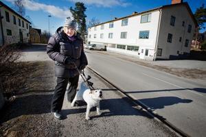 Birgitta Auregård, för dagen hundvakt åt livliga Agnes, gillar Hölös mataffär, men har inget emot om det skulle byggas en ny butik vid motorvägen.