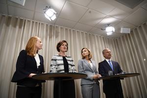 Alliansens partiledare, Annie Lööf (C), Anna Kinberg Batra (M), Ebba Busch Thor (KD) och Jan Björklund (L) håller pressträff i Moderaternas kansli i Stockholm. Alliansen kommer att väcka misstroendeförklaring mot tre ministrar.