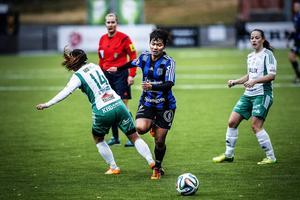 Joy Chawong var nyttig med sin fina vänsterfot och sitt lugn. Det var också hon som slog frisparken till Frida Sjöbergs 1–1-mål