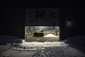 På bakgården står en tälthall i vilken familjen Karlsson väljer att spendera tisdagskvällarna.