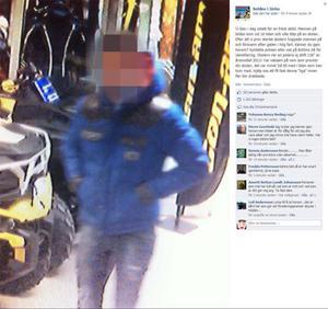 Så här ser efterlysningen ut på Bohlins Facebook-sida, där de vill ha in uppgifter om mannen som stal en skoter mitt framför ögonen på dem. Under tisdagen kom flera tips som pekar ut samma person. Ägaren Stefan Bohlin säger att han inte ville att tjuven bara skulle få komma undan. Arbetarbladet har pixlat den misstänkta tjuvens ansikte. Så ser det inte ut på Facebook.