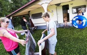 Efter en trevlig vecka i Östersund packar familjen Sandnes ihop förtältet och åker hem till Steinkjer.