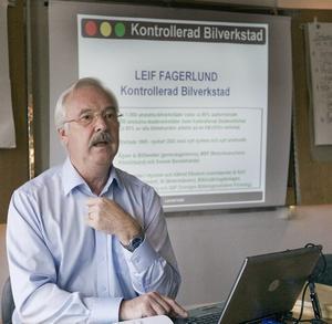 """positivt. Kontrollerad bilverkstads vd Leif Fagerlund är nöjd med Gävleborgs siffror. """"Det är bland de högsta siffrorna i hela Sverige."""""""