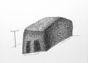 Kristina Torstensdotters besjälade sätt att i kol och blyerts fånga in hus, lador och fjös är en slags tecknad impressionism som verkligen imponerar.