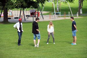 Här i Öjeparken i Edsbyn blir det kubbturnering för olika lag den 4 augusti. Deltagande lag anmäler sig via facebook.