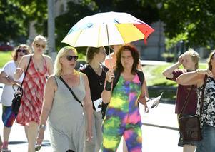 Pia Fjällmo hade laddat upp med regnbågsfärgade kläder och paraply