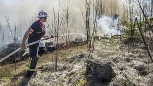 Bild från Rönningen utanför Norberg när skogsbranden härjade under 2014. Foto: Niklas Hagman