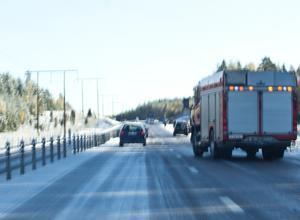 Räddningstjänsten ryckte ut till olyckan på riksväg 68.