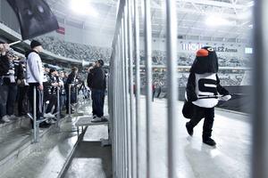 Pigge pingvin jobbade för att hålla i gång SAIK-supportrarna.