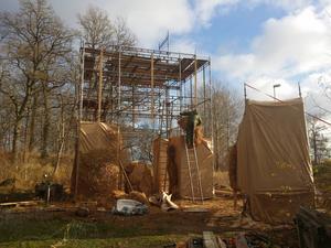 Fridlevstadbocken under uppbyggnad inför årets jul.