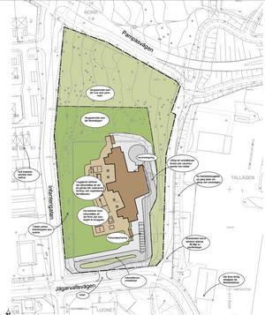 Illustrationen visar ett exempel på hur den nya förskolan på Jägarvallen kan komma att se ut.