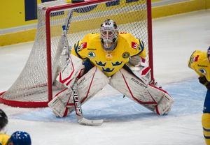 Straffad. Johan Gustafsson var stabil i Tre Kronors kasse i matchen mot Tjeckien.