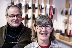 Åke och Anna Eriksson driver sedan början av 2014 strumpfabriken Ulleri i Skärvångens gamla skola.