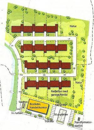 Illustrationskartan i planhandlingarna visar de fyra kedjehusen samt en tvåvånings byggnad för  bostäder och handel längst ner närmast Karolinervägen.Foto: Tema planavdelning