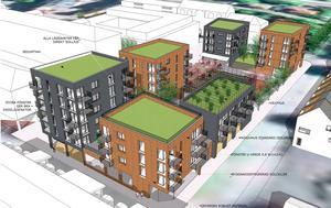 Ett förslag till bebyggelse på Wallintorget, presenterat 2014.