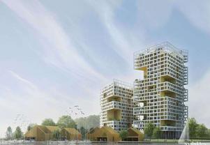 Arkitektförslaget om höghus vid Elbakajen faller inte Centern i smaken. Nu vill partiet att förtätningarna upphör.