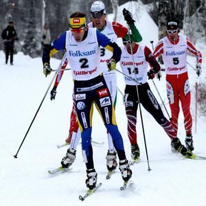 Emil Jönsson i täten före Jesper Modin i sprintfinalen i Bruksvallarna för ett år sedan.arkivbild: Thord eric Nilsson