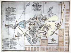 1650, rekordåret för koppargruvan efter  30-åriga kriget. Thomas Kristiersson Hedraeus karta med schakt, hästvindar, spel och vattenkonster