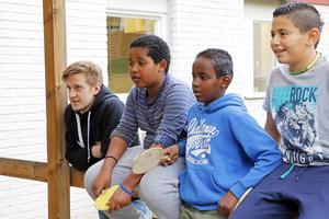 Varje vecka besöker Brynässpelare fem skolor i Gävle. Från början pratades det om att de skulle komma till 30 skolor. Lilla Sätraskolan är en av de som får Brynäsbesök. Jonathan Pudas kollar in en pingismatch med bland andra Yoel Tesfay, 11.