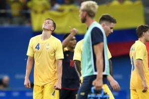 160804 Sveriges Joakim Nilsson deppar fotbollsmatchen mellan Sverige och Colombia den 4 augusti 2016 under OS i Manaus.Foto: Carl Sandin / BILDBYRN / kod CS / 57918