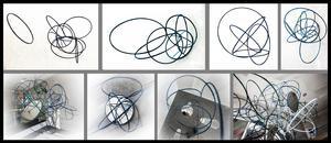 Klara Berge arbetar med geometriska former uppbrutna i cirklar och kuber.