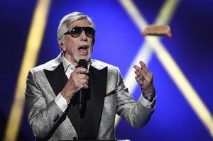 Owe Thörnqvist med Boogieman Blues under fredagens generalrepetition inför Melodifestivalens tredje deltävling.
