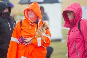 Åskådarna klarade sig tyvärr inte undan regnet. Då var det tur att de verkade vara väl förberedda.