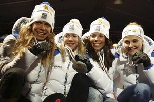 Damerna tog silver i stafetten.