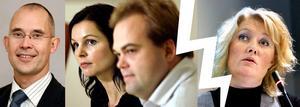 Miljöpartiet (här representerade av Gabriella Blomgren och Fredrik Persson) väljer sannolikt Staffan Wermes blåa lag framför Lena Baastads socialdemokrater.