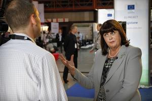 EU-kommissionären Márie Geoghegan-Quinn betonade vilken roll forskning och innovation har för Europas framtid.