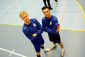 Erik Sundberg och Dardan Lushtaku från landslaget i vollyboll.