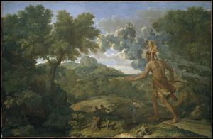Den franske konstnären Nicolas Poussin skildrar Orion i sin oljemålning från 1658.