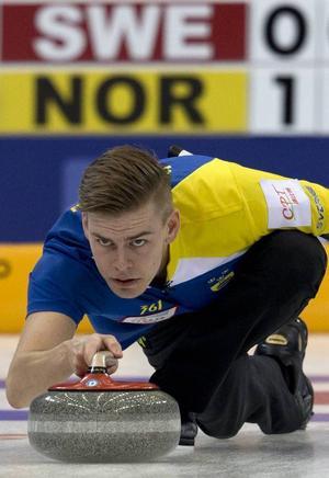 Christoffer Sundgren under finalmatchen mot Norge den sjätte april i Peking.