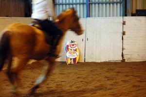 HOTFULL FIGUR. I ena hörnet av ridhuset har en glassgubbe placerats för att träna hästarna        i förändring. Till och från ryggar hästarna för den iskalla glassgubben.