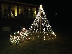 Julen har kommit på Rönnby. Två julbockar och gran.