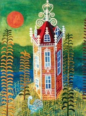 Den här lilla (36 x 27 cm) akvarellen från 1963 gick högt över utrop. 38 000 kronor mot utropets 12 000–15 000 kronor.