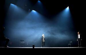 Gunnel Lindblom gör rollen som den blinde siaren Teiresias.Foto: Henrik Montgomery