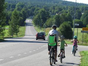 Vägen är obehaglig att cykla längs med, särskilt med barn, eftersom den både är vältrafikerad och kurvig, tycker Elisabeth Blomgren.