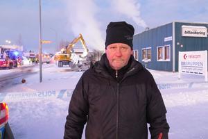 Ägaren Ulf Jansson från Frösön var av naturliga skäl tagen av branden i hans företag.
