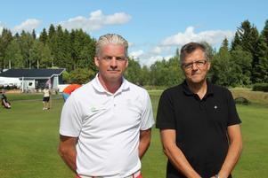 Klubbchefen Per Engström och styrelsemedlemmen Benny Eriksson är både engagerade i helgens tävling i Handigolf.