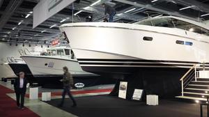 En 54 fots Delta – den största båten på mässan.