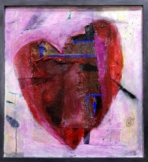 """""""Hjärtats väg"""". Bekant målning från  en tidigare utställning av Ingmarie Utbys, i Hofors."""